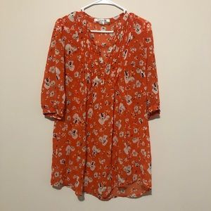 Floral Tunic pleated 3/4 sleeve Forever 21 Top